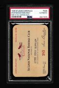 1936 Hof Johnny Mize Mlb Debut St Louis Cardinals Season Pass Ticket Stub Psa