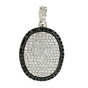 Natural Pave Diamond Oval Pendant 14k White Gold Handmade Jewelry Gift For Women