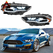 Full Led Dynamic Drl/turn Amber Side Reflector For 2018-2020 Ford Mustang