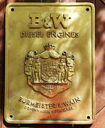 Big Solid Brass Sign Plaque Burmeister And Wain Diesel Engines