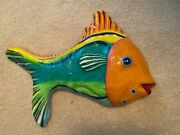 Tropical Fish Wall Decor, Bright, Paper Mache, Hard Coated, Used In Nursery