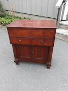 Small Antique American Empire Lift Top Server Or Wash Stand Dresser