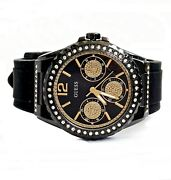 Guess Watch Womenand039s Watch W0846l1 Starlight Stainless Steel Ip-schwarz New