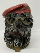 Antique Tobacco Jar Figural Humidor Dog Spectacles Red Hat Ferdinand Gerbing