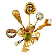 Vintage Stick Pin Brooch C1915 Bouquet Of 14k Multicolor Gold Stick Pins