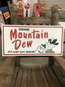Mountain Dew Vintage Style Heavy Metal Embossed Sign Large 32x16