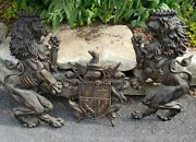 Vintage Lions With Crest Metal Wall Art Rare Mid Century Retro Collectible Set