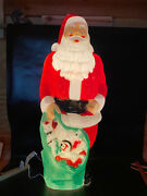 Vintage Empire 46andrdquo Blow Mold Giant Santa Green Toy Sack Christmas Lighted
