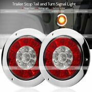 Pair 4 Round Red/amber 16 Led Truck Trailer Brake Stop Turn Signal Tail Lights