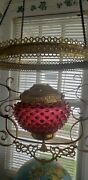 Antique Victorian Cranbery Hanging Oil Lamp Frame W/hobnail Font Parts