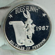 1987 United States Usa Looney Tunes Bugs Bunny Freedom 5oz Silver Medal I90693