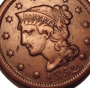 Old Us Coins 1852 Large Cent Penny Early Copper Beauty