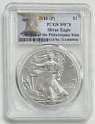 2016-p 1 Silver Eagle Pcgs Ms70 Struck At Philadelphia Liberty Bell Label