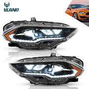 Pair Upgraded Amber Full Led Headlights Turn Signal For 2018-2021 Ford Mustang