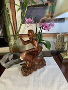Vintage Hand Carved Wooden African Figure Statue Playing The Bongo Drums Music