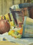 Vintage French Watercolor Still Life - Fruit And Baskets 28andfrac34 X 23andfrac14