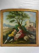 Antique French Romantic Painting - Oil On Canvas 33andfrac34 X 35