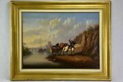 Mid 19th Century Painting - Work Horses By A River - Oil On Canvas 32¼ X 25¼