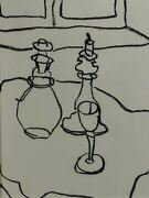 1/4 Still Life With Carafe Candlestick And Wine Glass - Charcoal On Paper - Car