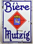 Large 1960and039s French Enamel Sign - Beer From Alsace 54 X 37andfrac34