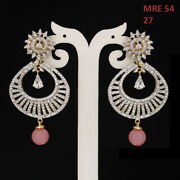 Indian Handmade New Design Gold Plated Long Chain Dangle Earrings Mre 54-pink
