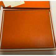 Hermes Mouse Pad Orange And Brown Leather Used Width 24.5cm Height 20cm