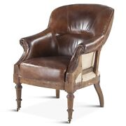 38 H Oxford Rugged Brown Leather Armchair Victorian Vintage Hand Crafted Wheels