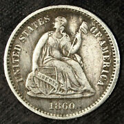 1860 O Seated Liberty Silver Half Dime ☆☆ Circulated ☆☆ Great For Sets 268