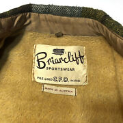 Vintage Briarcliff Yellow Flannel Coat Plaid 42 Large Rockabilly Jacket 60and039s Vtg
