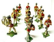 12 Piece Vintage British Military's Soldiers Marching Band Lead Metal Toy Figure