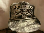 1992 Michigan Usa Davey Allison And Dale Earnhardt Autographed Signed Speedway Hat