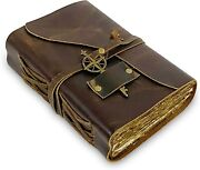 Vintage Leather Journal - Antique Handmade Leather Bound Journal Old Fashion 6x9