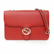 Pre-owned 510303 Cao0g 6420 Shoulder Bag Red Calf Leather Free Shipping