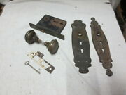 Antique Mortise Lock Set Ornate Round Door Knobs Plate With Key Works Lot101