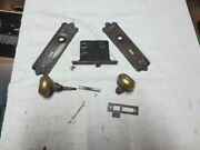 Antique Mortise Lock Set Ornate Round Door Knobs Plate With Key Works Lot105