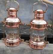 Set Of 2 Copper Brass Anchor Oil Lamp Vintage Hanging Table Decorative 14