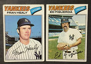 Free Shipping 1977 Topps 148 Fran Healy And 195 Ed Figeroa N.y. Yankees Vg Ex