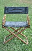 """1950's Vintage Mcguire Bamboo, Brass, And Leather Folding """"director's Chair"""""""