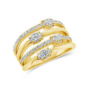0.84 Ct 14k Or Jaune Marquise Coupe Diamant Multi Bande Ouvert Fantaisie Large