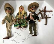 Lot Of 3 Vintage Mexican Marionettes Need Restrung
