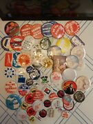 60+ Pinback Buttons Political Local Collecting Dealers Organizations Box Lot
