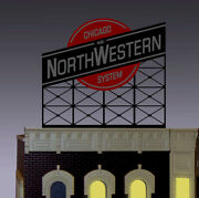 Chicago And Northwestern Rr Super O-scale Lighted Animated Neon Billboard Sign