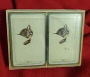 Vintage Chesapeake And Ohio Railway Chessie The Cat 2 Deck Of Playing Cards + Case