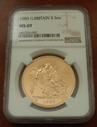 Great Britain Uk 1985 Gold 5 Pounds Sovereigns Ngc Ms69