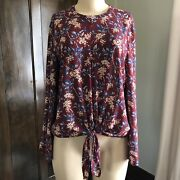 Nwot Madewell Bell Sleeve Floral Tie Top Antique Flora Size Medium 98