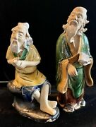 2 Vintage China Chinese Oriental Mud Figure Figurines Statues Men 4 And 5