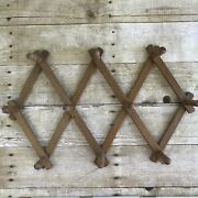 Vintage Wood Expandable Wall Rack Coffee Mugs Jewelry Display Brown Small To Med
