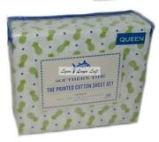 Southern Tide Pineapple Paradise Queen Sheet Set 4p Cotton Percale Green Blue