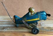 1930and039s/40and039s Marx Tin Airplane Tin Rollover Wind-up Toy Blue