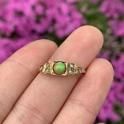 Art Deco Natural Water Opal And Old Mine Cut Diamond On 14k Gold Ring